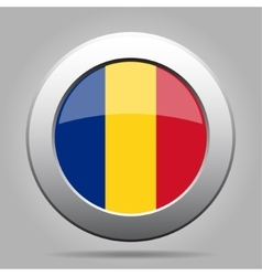 Metal button with flag of romania vector