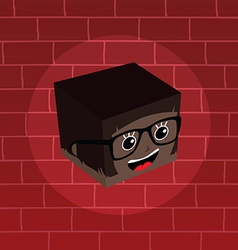 Female isometric block cartoon head vector