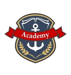 Maritime academy badge with shield and anchor vector