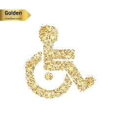 Gold glitter icon of wheelchair isolated on vector