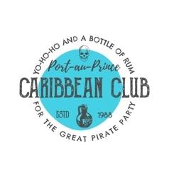 Vintage handcrafted label emblem caribbean club vector