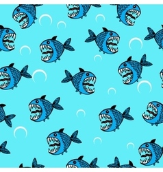 Angry sea fish seamless pattern vector image
