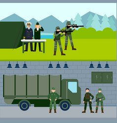 Army force horizontal banners vector