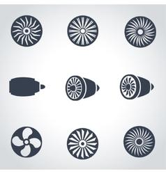 black turbines icon set vector image vector image