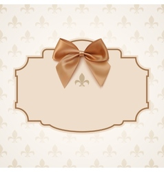Blank banner with golden ribbon and a bow vector image