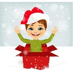 Boy coming out of inside christmas gift box vector