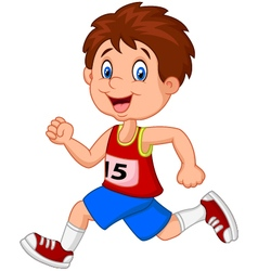 Cartoon boy follow the race vector