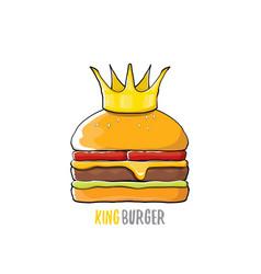 Cartoon royal king burger with cheese and vector