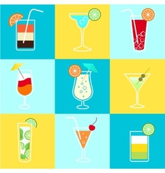 Cocktails party icons set vector