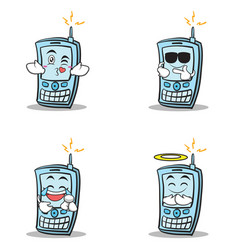 collection of phone character cartoon style set vector image