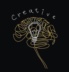 Creative brain and bulb icon concept of idea vector image vector image