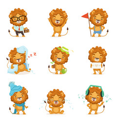 cute lion characters posing in different vector image