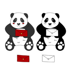 Cute panda with red letter vector