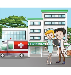 Doctor and hospital vector image