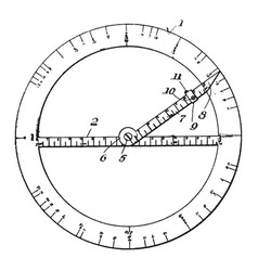 Drafting protractor right and to the left from vector