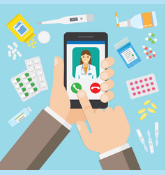 female doctor on mobile application vector image vector image