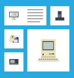 Flat icon laptop set of display vintage hardware vector