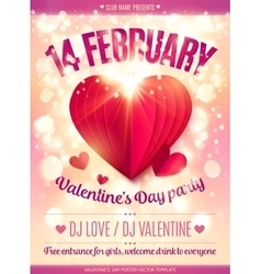 Fourteen February sign and red folded paper heart vector image vector image