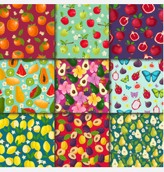 Fruit pattern seamless fruity background vector