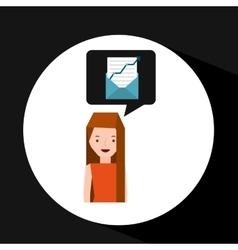 girl cartoon email envelope statistics vector image