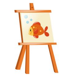 Goldfish on wooden canvas vector