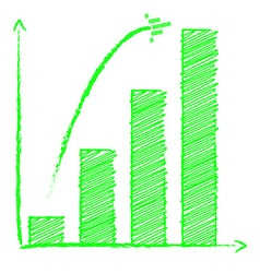 Growing bar chart with arrow vector image