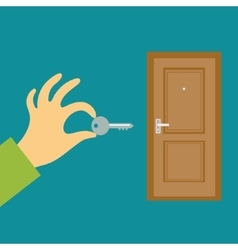 Hand with a key opens or closes the door Flat vector image vector image