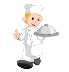 happy restaurant chef holding a metal food platter vector image