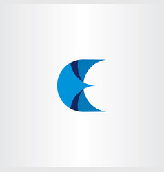 logotype letter e blue icon sign vector image