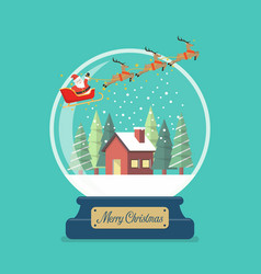 Merry christmas glass ball with santa sleigh and vector
