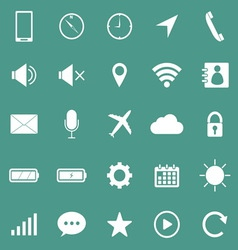 Mobile phone icons on green background vector