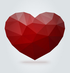 Red polygonal heart on white background vector