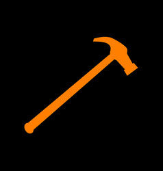 Saw simple icon orange icon on black background vector