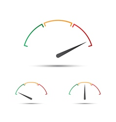 Set of simple tachometer with indicator in red vector