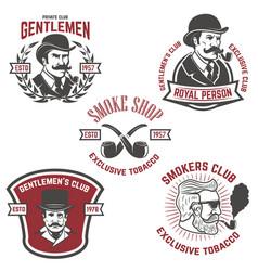 set of smokers club gentlemen club labels design vector image vector image