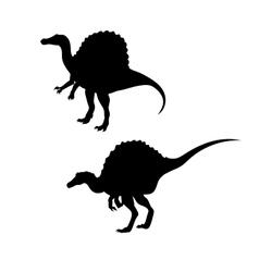 Spinosaurus dinosaur silhouettes vector image vector image