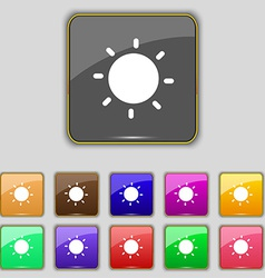 Sun icon sign Set with eleven colored buttons for vector image vector image