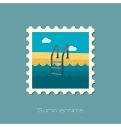 Swimming pool flat stamp vector