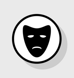 Tragedy theatrical masks flat black icon vector