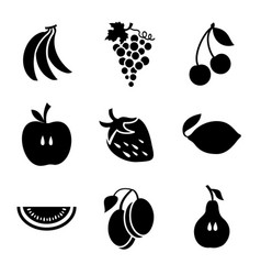 various fruits on a white background vector image vector image