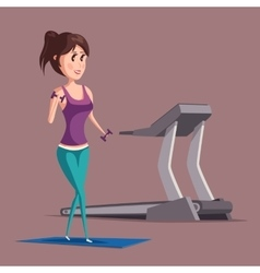 Woman or girl doing weight exercise near treadmill vector