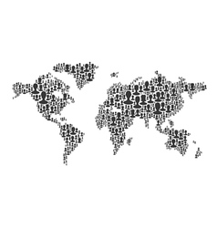 world map many silhouettes vector image vector image
