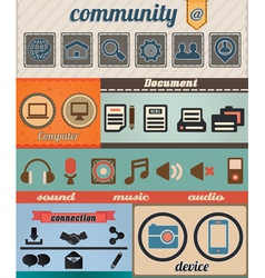Set of retro social media icons vector image