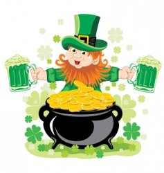 Leprechaun with mug of beer vector