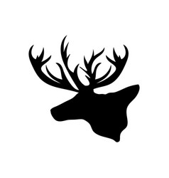 Black silhouette head reindeer white background vector