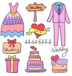 Collection of wedding object doodle set vector