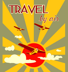 Airplanes on sun burst backdrop vector