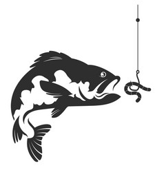 fish and a worm on a hook vector image