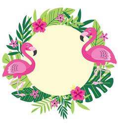 Tropical frame with flamingo vector