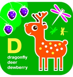 Abc dragonfly deer dewberry vector